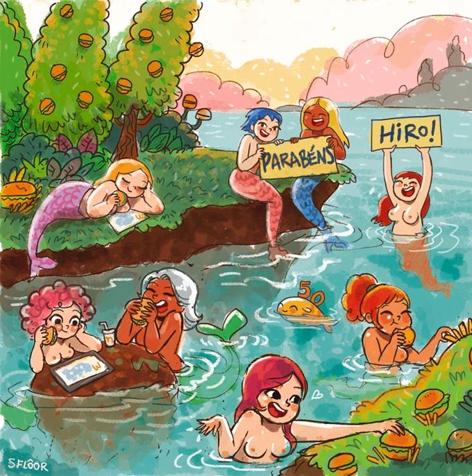 Ilustração de Samanta Flôor com sereias em um rio comendo hambúrgueres.