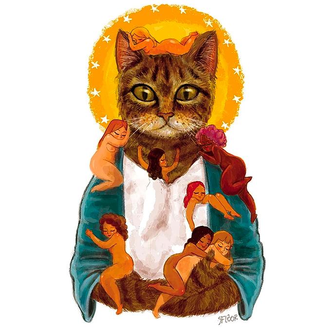 Um gato em pose sacra com várias mulherzinhas peladinhas penduradas nele.
