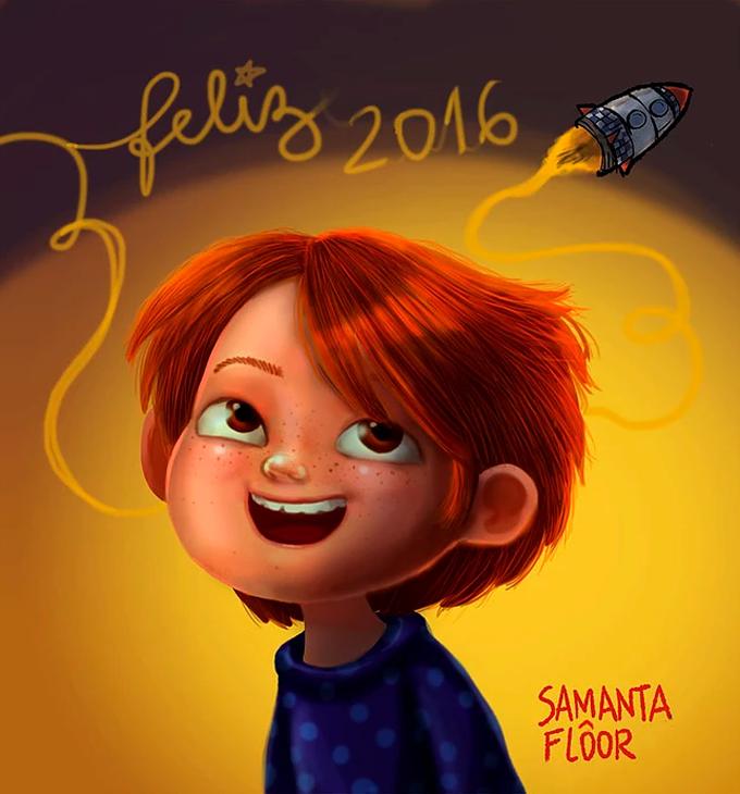 Menino feliz olhando para um escrito de feliz 2016 em forma de fumaça saindo de um foguete.