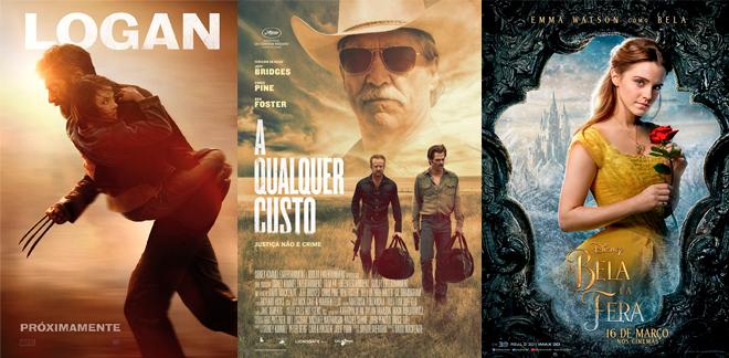 Últimos Cinco filmes: Cartazes dos filmes: Logan, A Qualquer Custo e A Bela e a Fera.