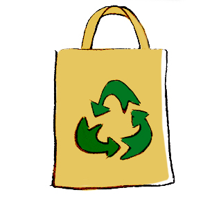 ilustração de uma sacola retornável de pano com um desenho do símbolo de reciclável no meio - três setas em círculo