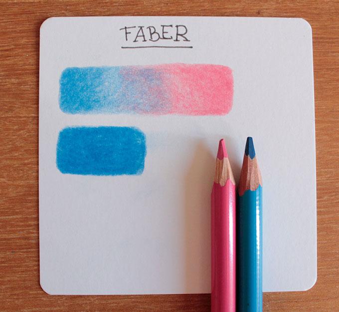Card com testes do lápis Faber Castell Polychromos