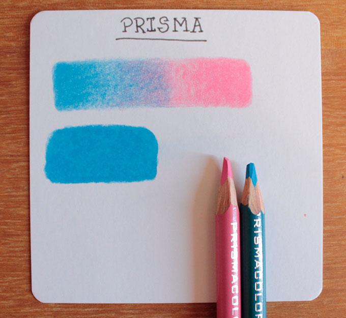 Card com testes do lápis Prismacolor