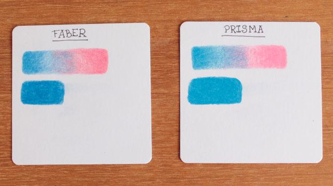 Cards com os testes do lápis de cor Prismacolor e Faber Castell Polychromos lado a lado para comparação