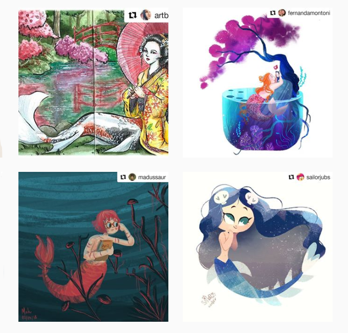 Desenhos do mês de maio de algumas participantes do projeto
