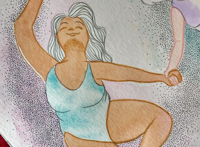 Zoom em detalhes de uma das mulheres desenhadas. Aquarela, lápis de cor e pontilhismo