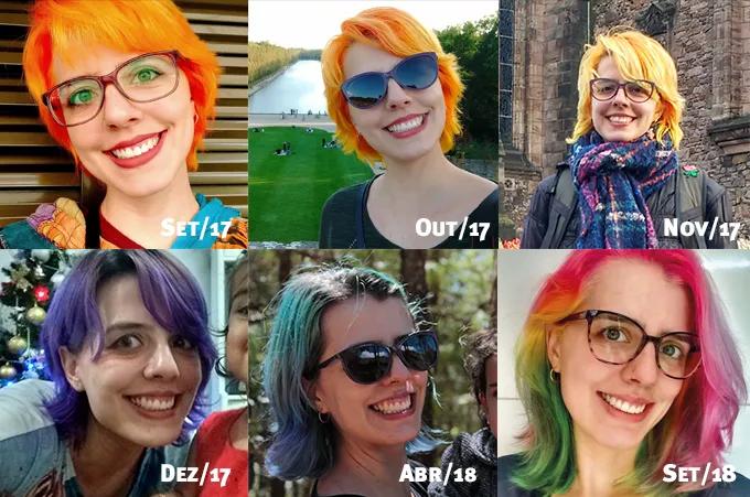 Fotos mostrando o cabelo crescendo entre 2017 e 2018